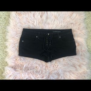 Black Denim Carmar Shorts